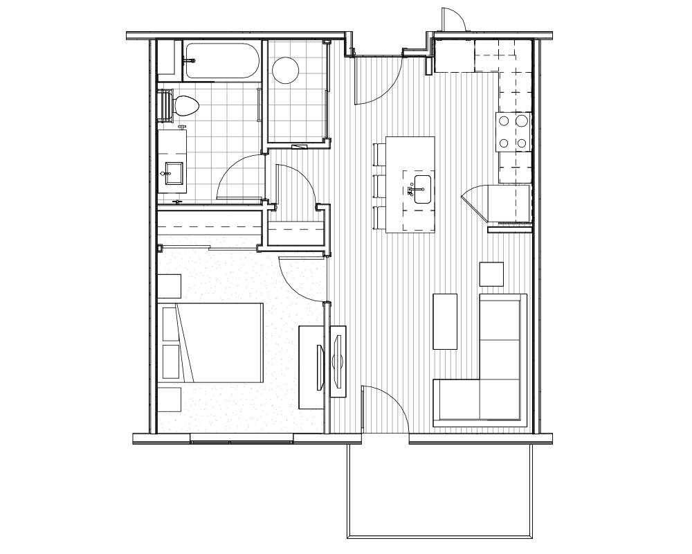 Woodside Village Type 1B - 2D Upscale 1-Bedroom Apartment Floorplan image