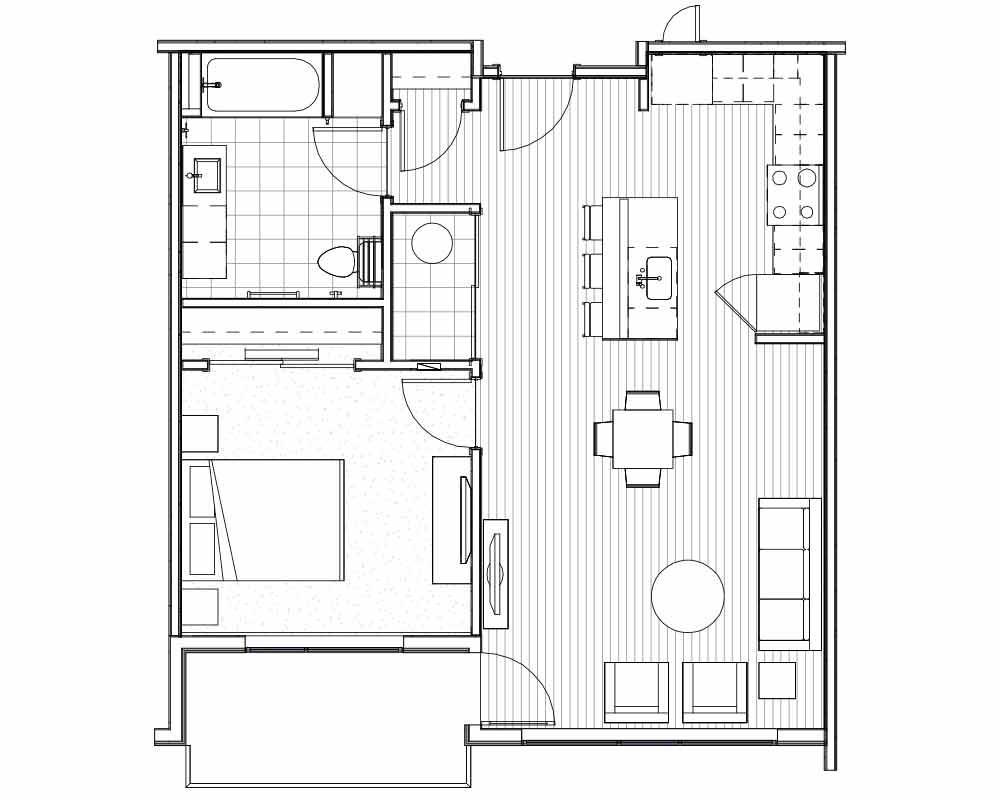 Woodside Village Type 1C - 2D Luxury Apartment Floorplan image
