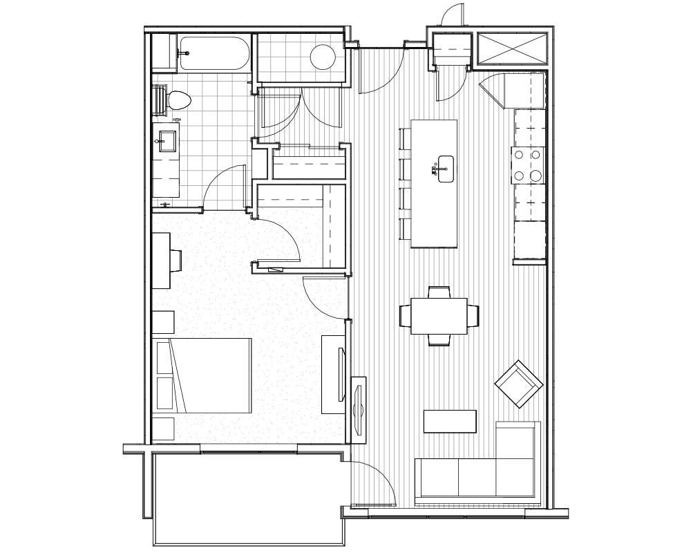 Woodside Village Type 1E - 2D Modern Apartment Floorplan image
