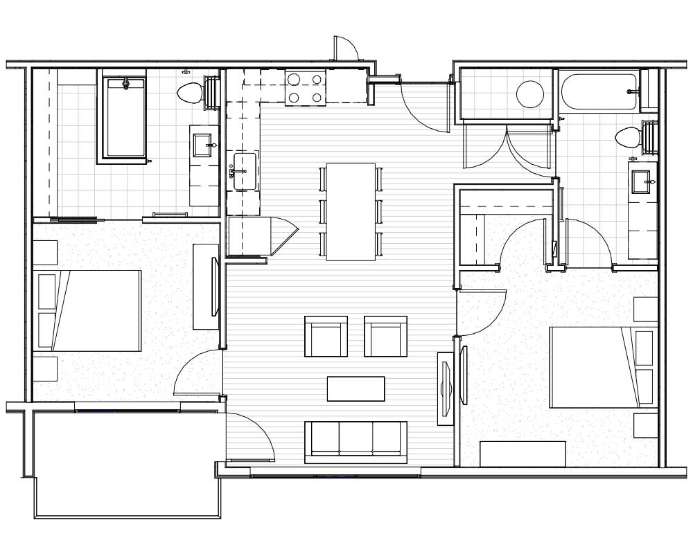 Woodside Village Type 2A - 2D Upscale Apartment Floorplan image