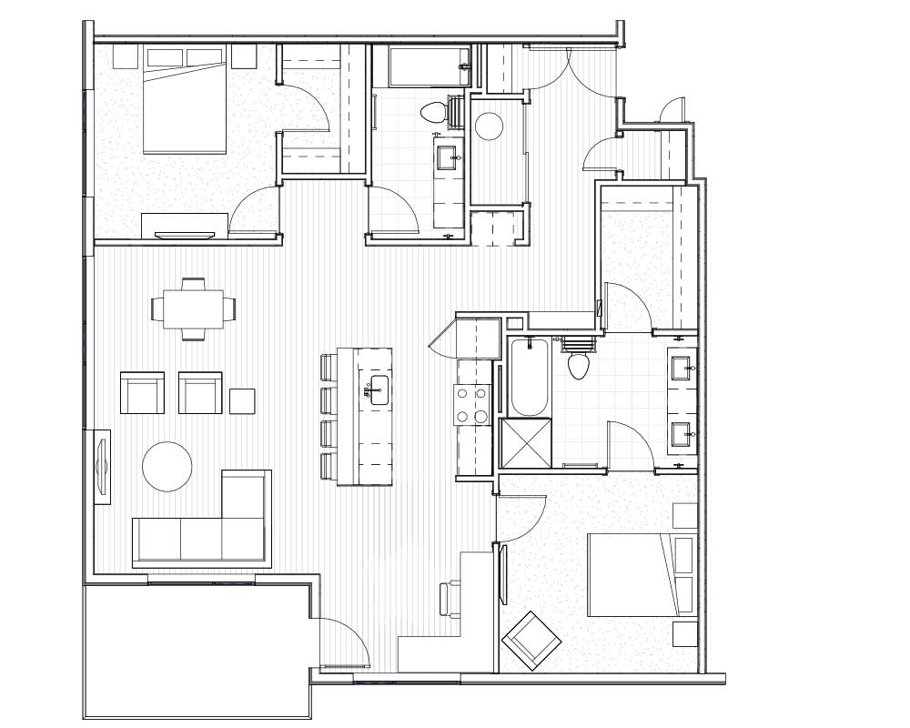Woodside Village Type 2E - 2D Modern 2BR Apartment Floorplan image