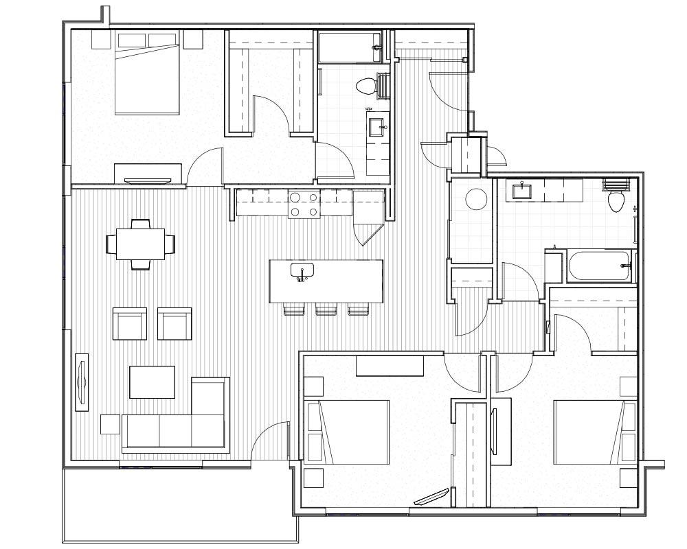 Woodside Village Type 3A - 2D Luxury 3BR Apartment Floorplan image
