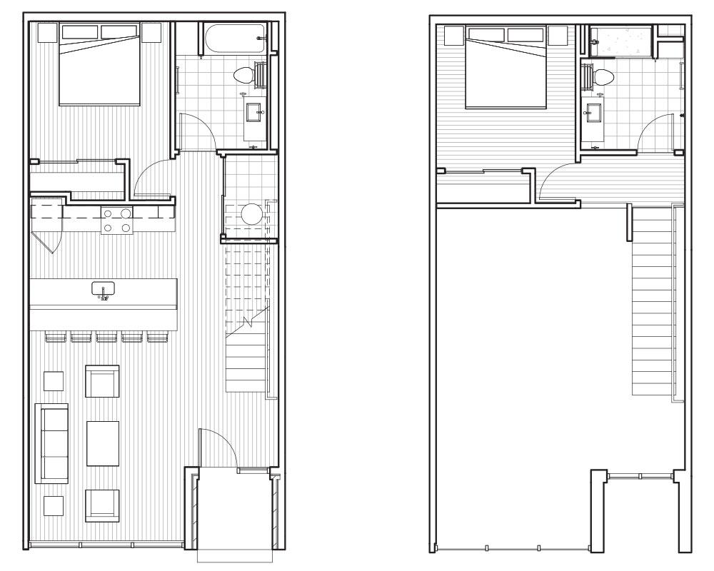 Woodside Village Type LW - 2D Luxury Live Work Apartment Floorplan image
