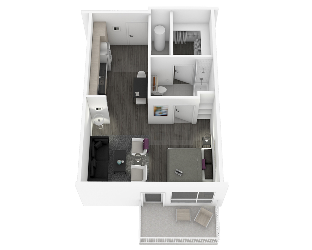 Woodside Village Type 1A - 3D Luxury Studio Apartment Floorplan image