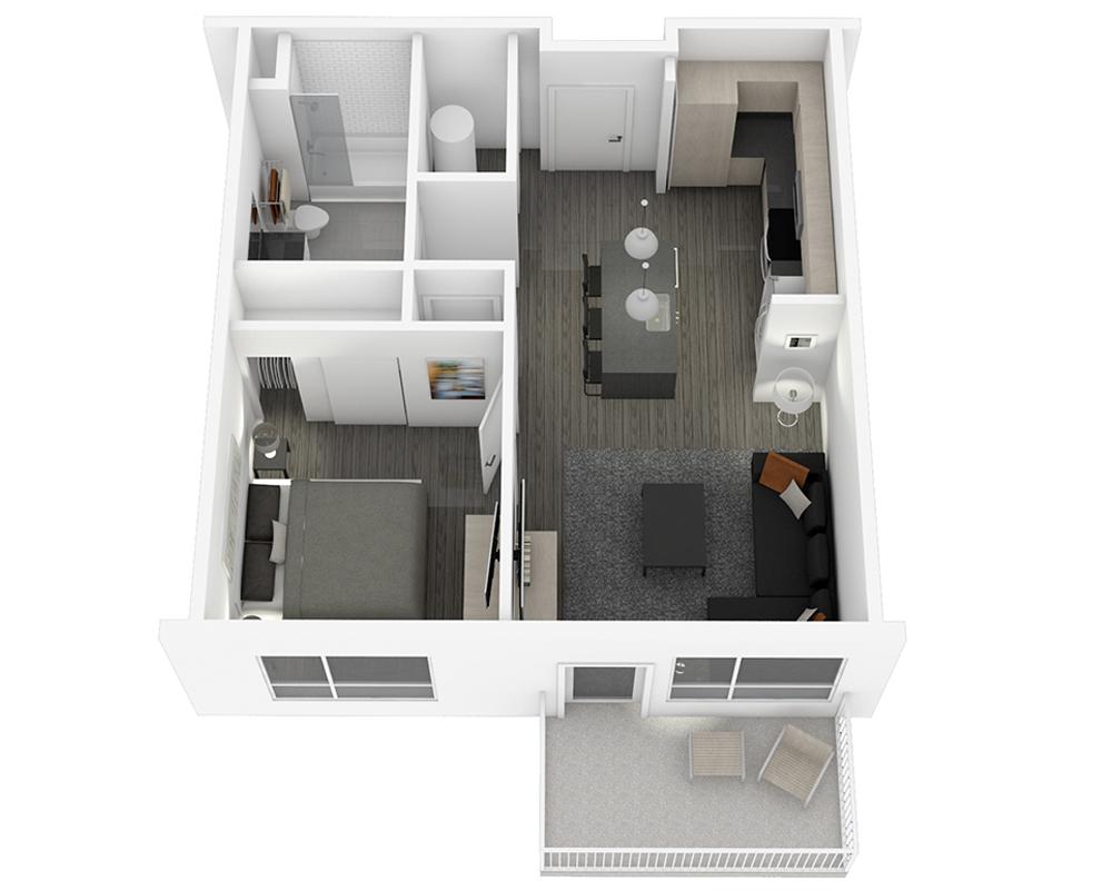 Woodside Village Type 1B - 3D Upscale 1-Bedroom Apartment Floorplan image