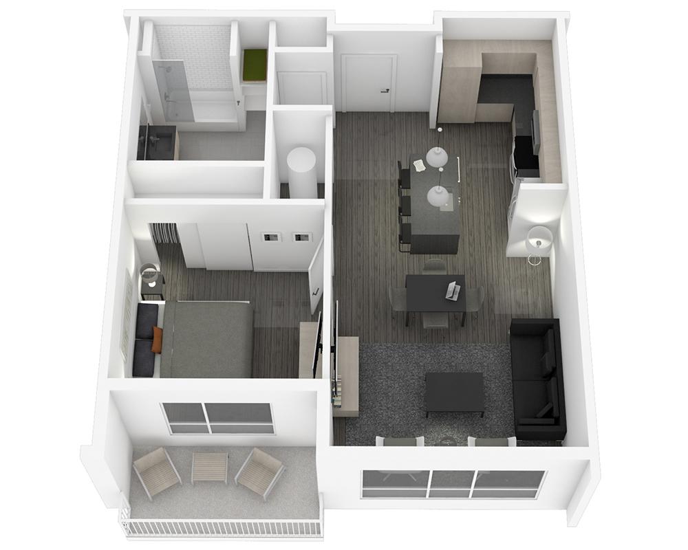 Woodside Village Type 1C - 3D Studio Apartment Floorplan image