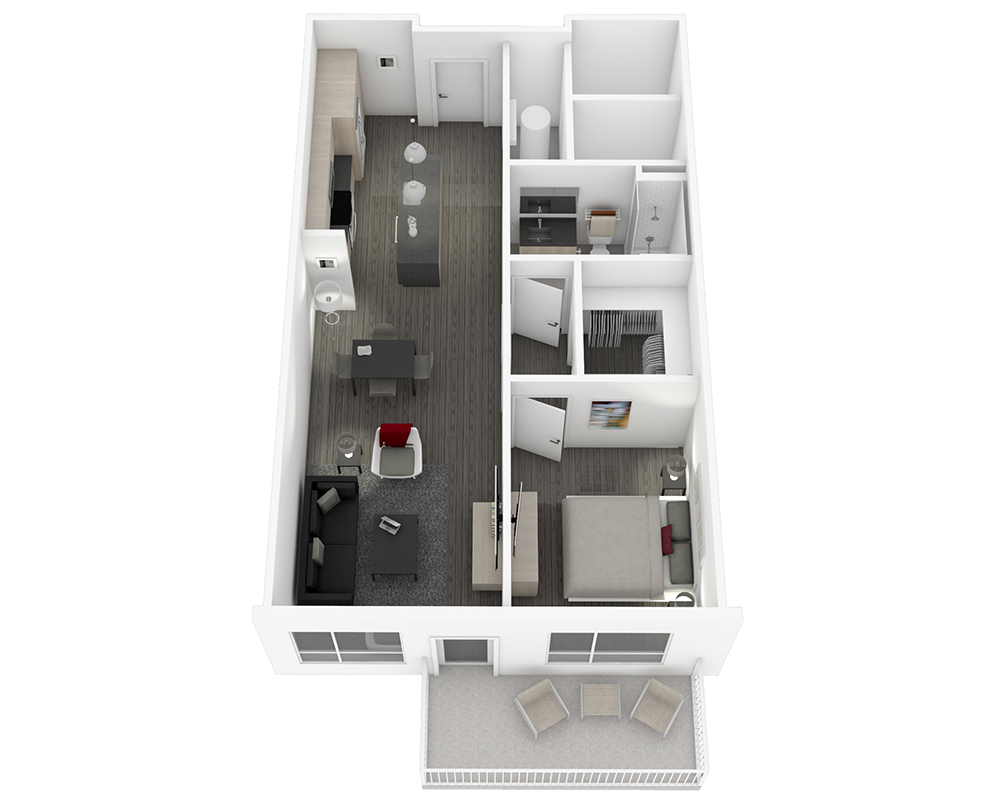 Woodside Village Type 1D - 3D High End Apartment Floorplan image