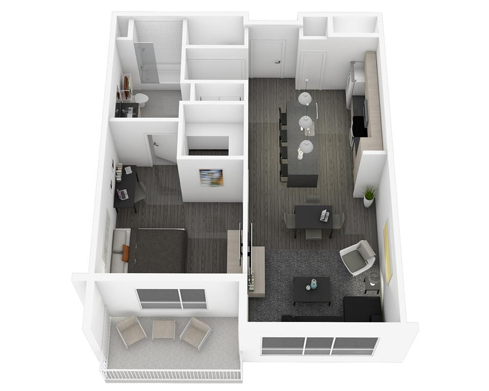 Woodside Village Type 1E - 3D Modern Apartment Floorplan image