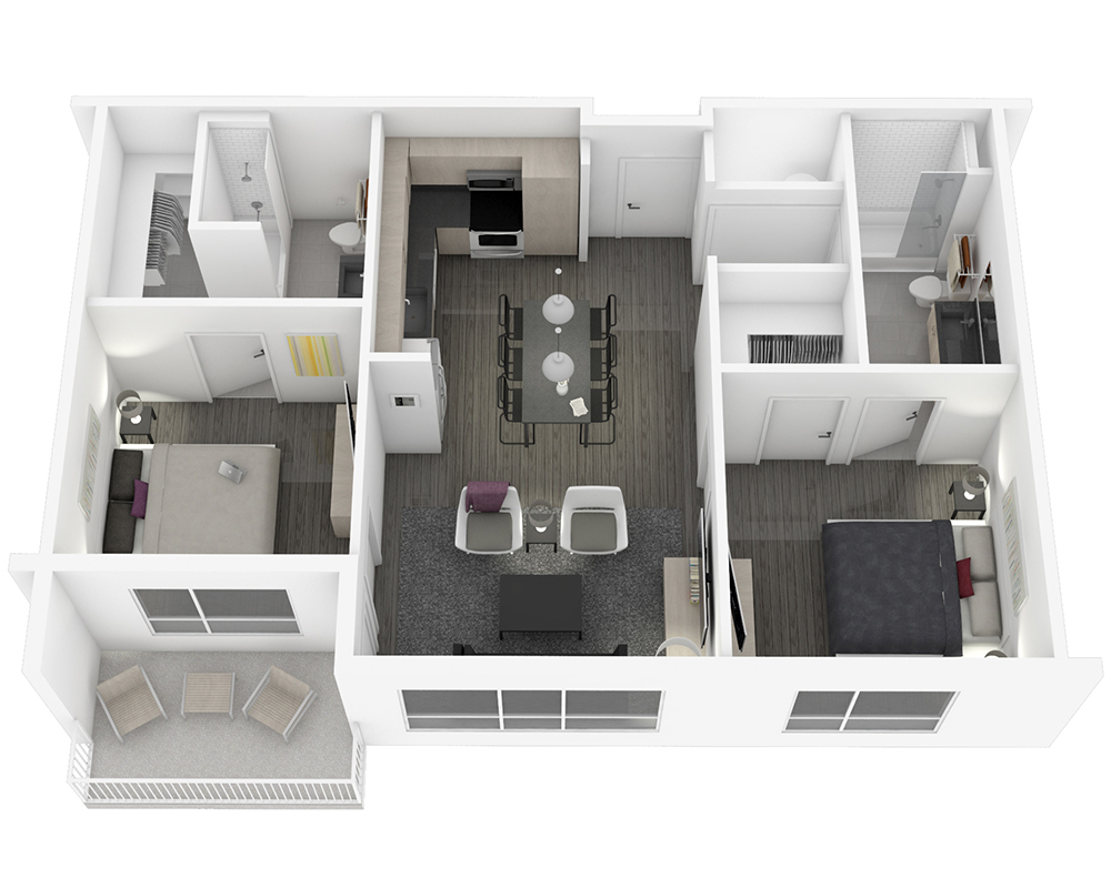 Woodside Village Type 2A - 3D Upscale Apartment Floorplan image