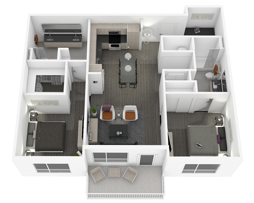 Woodside Village Type 2D - 2D High End 2BR Apartment Floorplan image