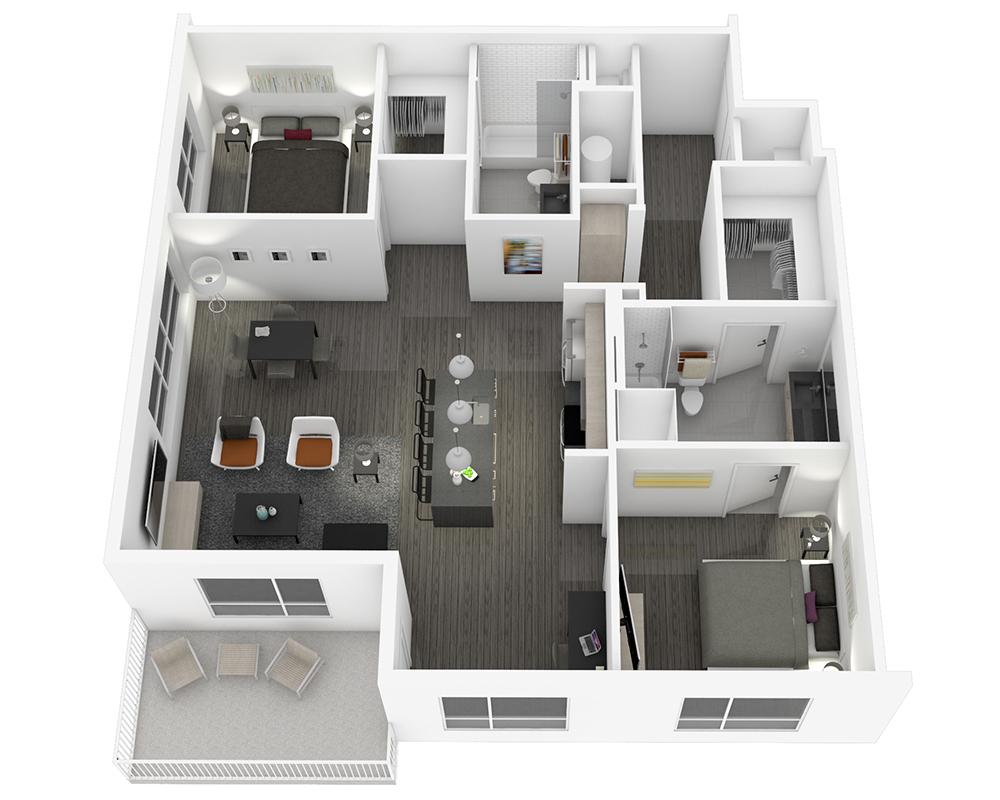 Woodside Village Type 2E - 3D Modern 2BR Apartment Floorplan image