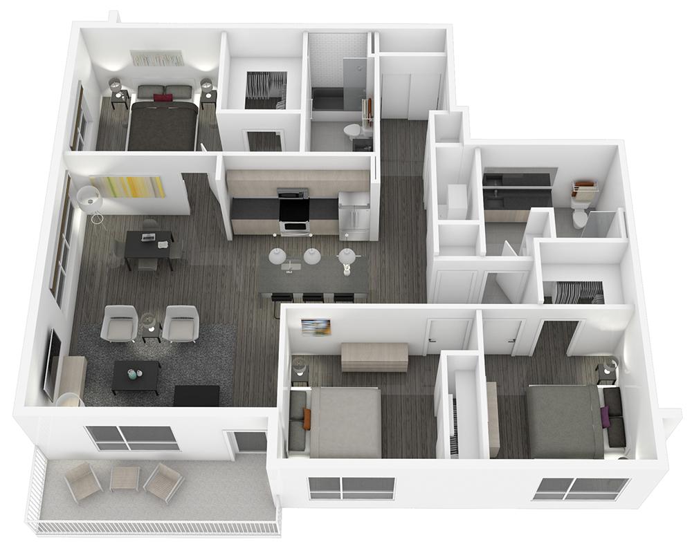 Woodside Village Type 3A - 3D Luxury 3BR Apartment Floorplan image