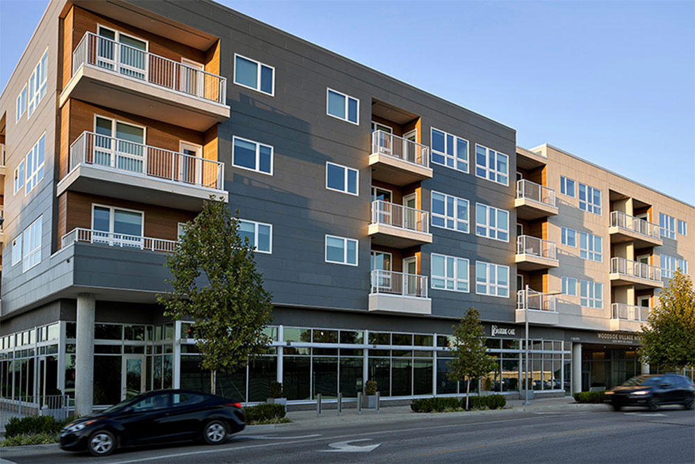 Outside view of Woodside Village apartments